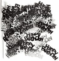 Black Glitz Table Confetti - Happy Birthday